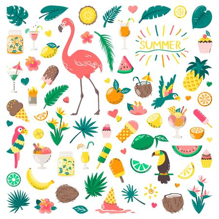 Set of cute summer icons: food, drinks, palm leaves, fruits and flamingo. Bright summertime poster. Collection of scrapbooking elements for beach party. Çizim