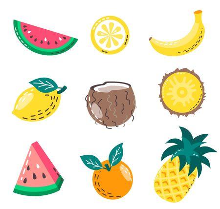 Set of isolated summer fruits. Vector illustration of juicy fruits: watermelon, banana, pineapple, coconut, orange and lemon. Ilustracja