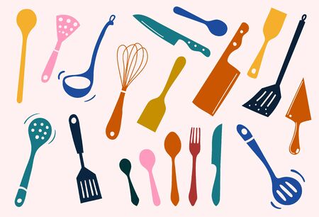 Colorful sets of silhouette kitchen tools: spade, ladle, knife, spoon, fork, spatula, knead, icon for cooking and dinning, create by vector