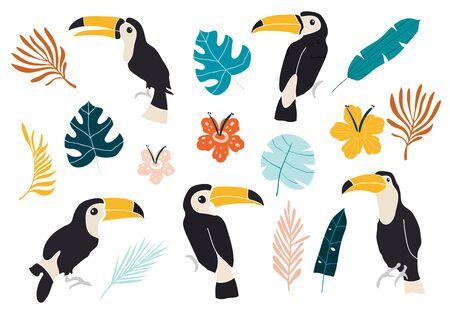 Vector set of toucan birds on tropical branches with leaves and flowers. Vector set of tropical leaves. Palm, monstera, banana leaf, hibiscus, plumeria flowers. Иллюстрация