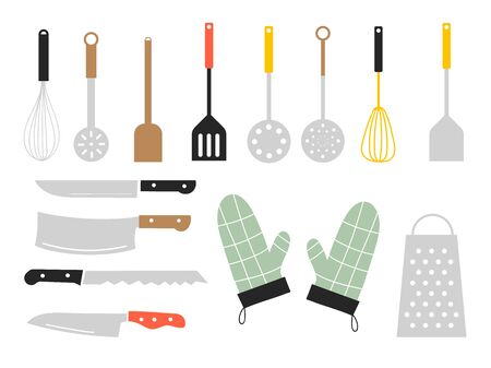 Colorful sets of icon for cooking and dinning, create by vector doodle