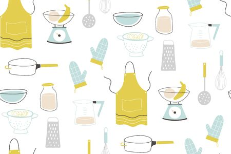 Colorful pattern sets of icon for cooking and dinning