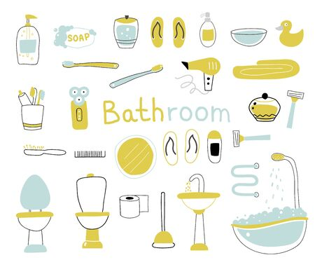 Big collection bathroom accessories. Vector illustration on white background Stock Illustratie