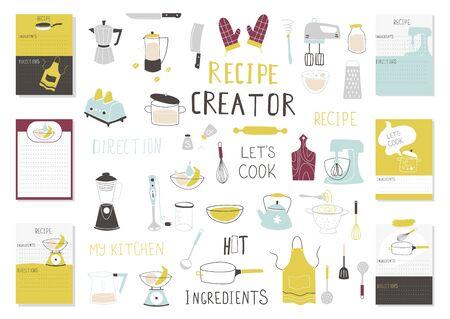 Big Recipe Creator template set for cookbook. Menu Creator Vector Illustration