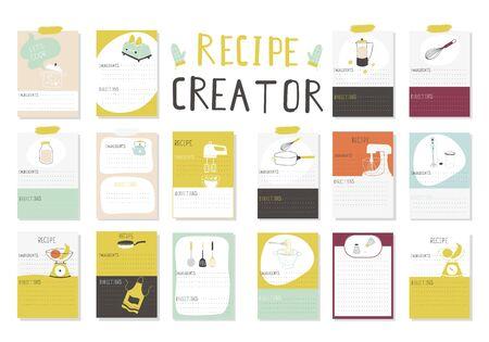 Big Recipe Creator. A lot of template for cookbook. Menu Creator for restorants. Vector Illustration