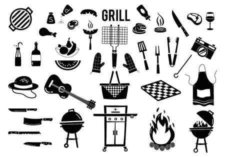 Summer, spring barbecue grill and picnic icons set. Collection grill tools, party items, decorations. Vector isolated on white background.