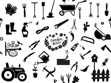 Big gardening pattern icons set and design elements. Garden tools and decor collection, isolated pattern on a white background.