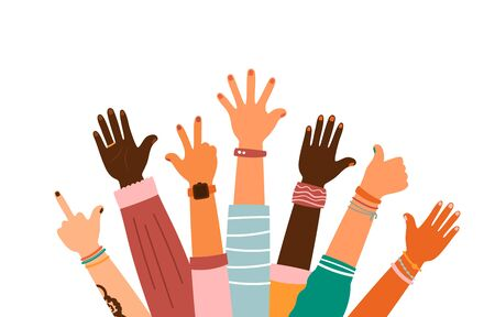 Colorful up hands set with different gestures, vector illustration Ilustración de vector