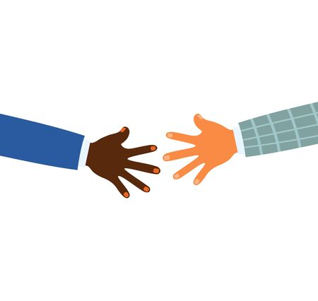 Vector illustration af two colorful hands reaching for each other.