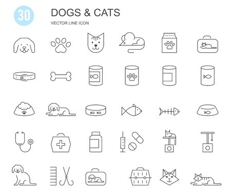 Pet shop, types of pets. Set of flat vector icons with a thin line.