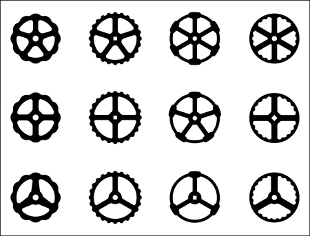 Hand wheel icon. Vector illustration for adjustment and operation Illustration