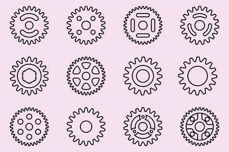 Gear wheel vector icons Vectores