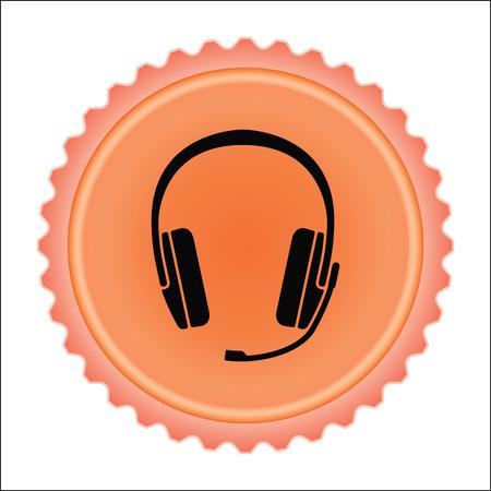 Headset icon on orange illustration.