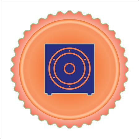 Sub woofer icon on orange illustration. Illustration