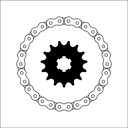Set of sprocket wheel and chain icon illustration.