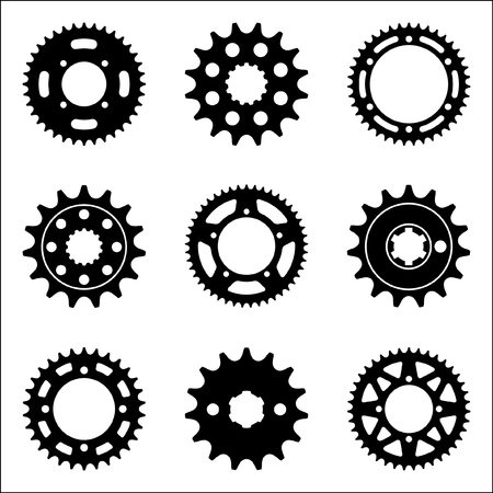 Set of various types of sprocket wheel icons. Vector illustration