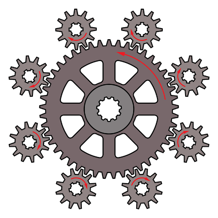 Driver and driven gears with direction of motion