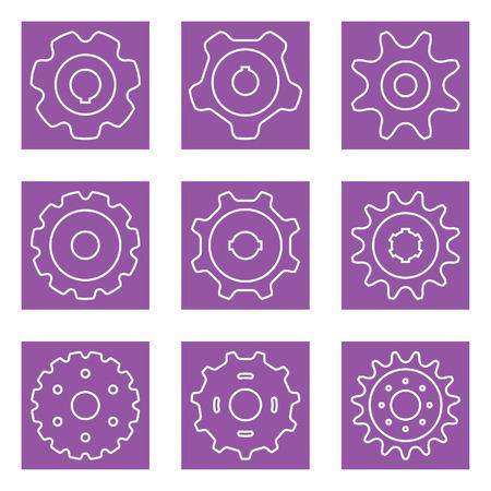 Sprocket wheel vector set on purple background. Vectores