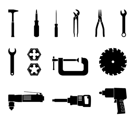 Set of power tools and hand tools. Silhouette vector
