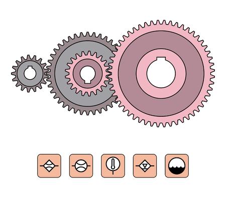 Gear wheels provide desired motion Vektorové ilustrace