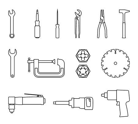 Set von Elektrowerkzeugen und Handwerkzeugen. Vektor dünne Linie