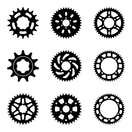 Sprocket icon set with different teeth. Silhouette flat vector