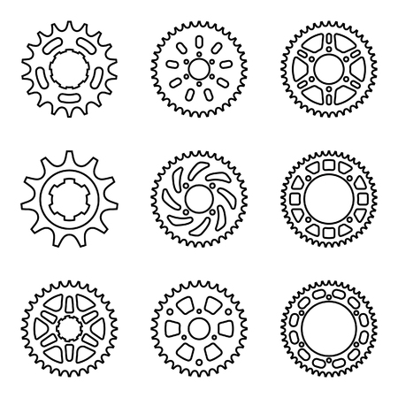 Sprocket icon set with different teeth. Thin line vector