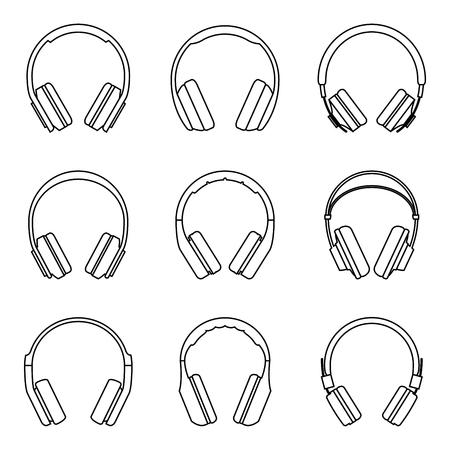 Conjunto de iconos de auriculares. Vector delgada línea