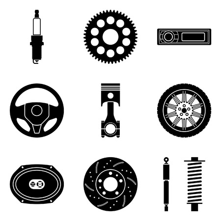 Set of car parts. Vector illustration
