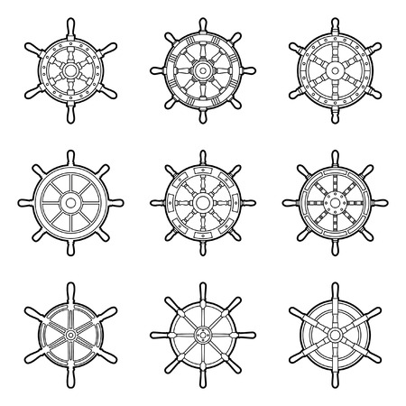 Set of ship wheel icons. Thin line vector