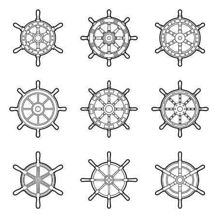 Set of ship wheel icons. Thin line vector