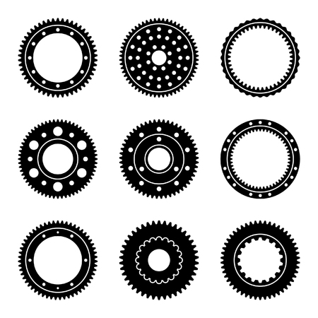 External and internal gear with different number of teeth. Silhouette vector