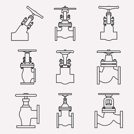 jeu d'icônes de vanne industrielle. Vecteur de fine ligne