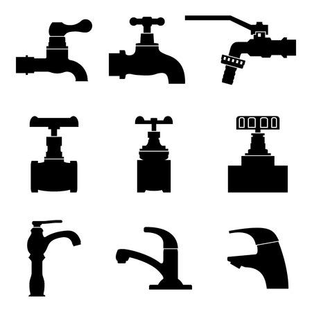 Différents types de robinet et robinet. Vecteur de silhouette