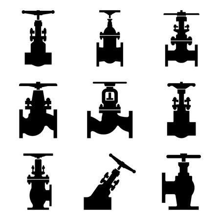 Satz verschiedener Formen von Industrieventilen. Schattenbildvektor