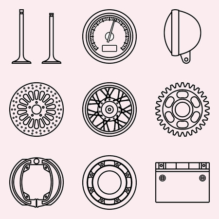 Set of motor cycle parts icon on pink background. Vector illustration