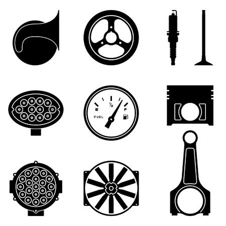 Set von verschiedenen Arten von Autoteilen. Schattenbildvektor