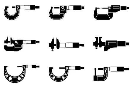 Set of inside and outside micrometer icons. Silhouette vector