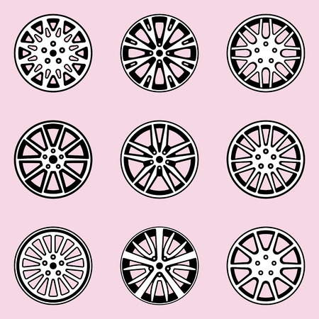 Different types of car rim vector icons on pink backgrounds Ilustração