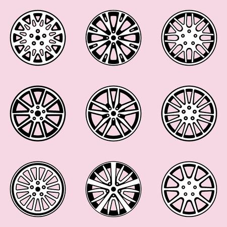 Verschiedene Arten von Auto-Rand-Vektorikonen auf rosa Hintergründen