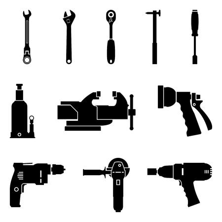 Satz von Handwerkzeugen und Elektrowerkzeugsymbol. Schattenbildvektor