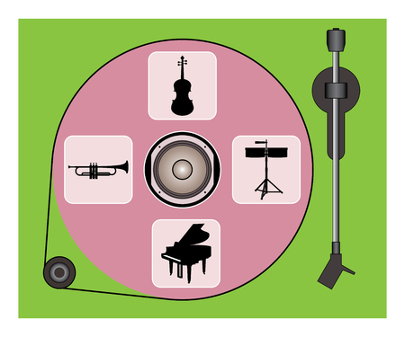 Audio equipment and musical instrument icon. Turntable. Vector illustration