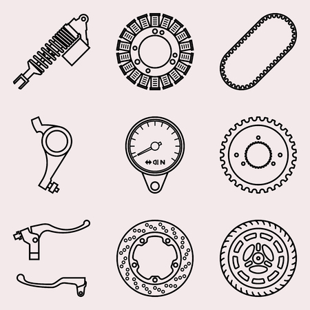 Set of motorcycle parts icons. Vector illustration