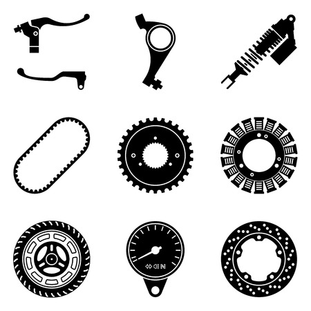 Set of motorcycle parts icons. Silhouette vector Stok Fotoğraf - 121658096