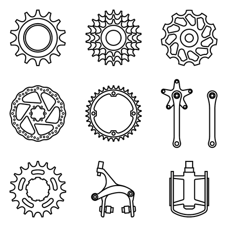 Set of bicycle parts icon. Thin line vector