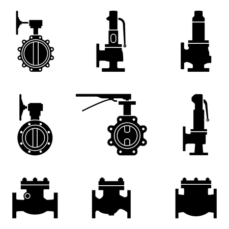 industrial valve. safety, butterfly and check valve. silhouette vector