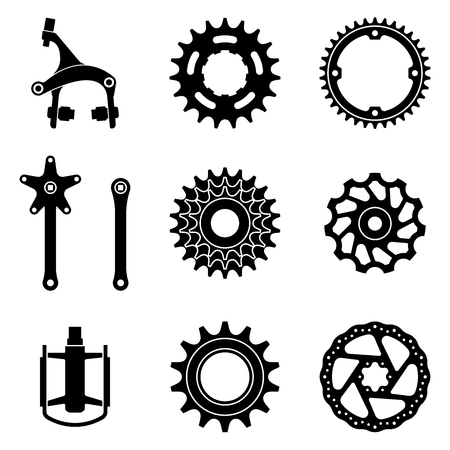 Set of bicycle parts icon. Silhouette vector Ilustração