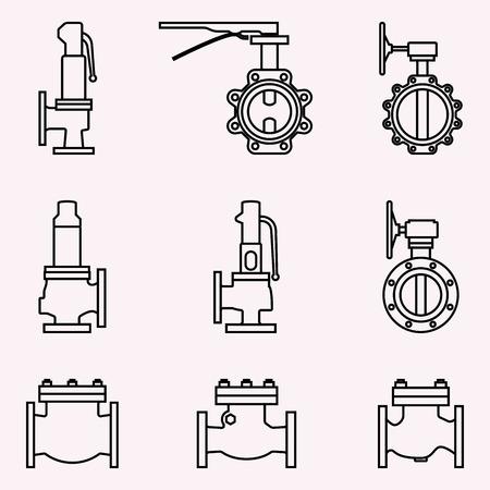 Industrieventil. Sicherheits-, Drossel- und Rückschlagventil. Vektor dünne Linie