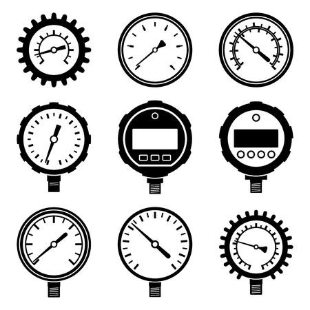 Pressure gauge icon set. Vector illustration
