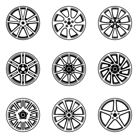 Set of car wheel rim. Vector illustration